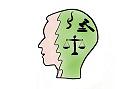Kopf mit juristischer Symbolik, verlinkt zum Bereich Forschung